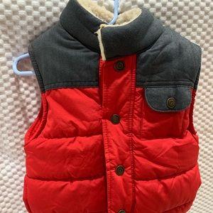 Warm red vest for toddler boys